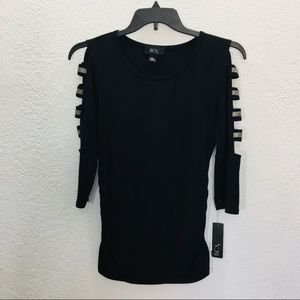 BCX Juniors Ladder Sleeves Blouse Black Size Small